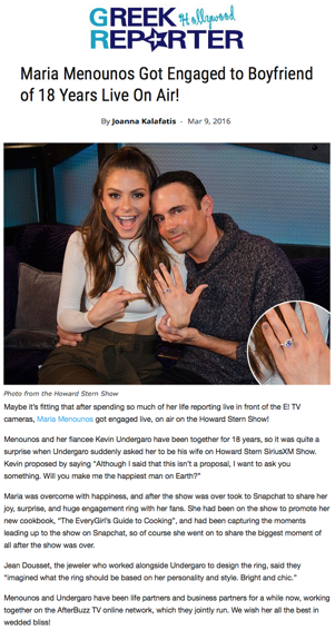 """Maria Menounos got engaged to boyfriend of 18 years live on air"", Greek Hollywood Reporter"