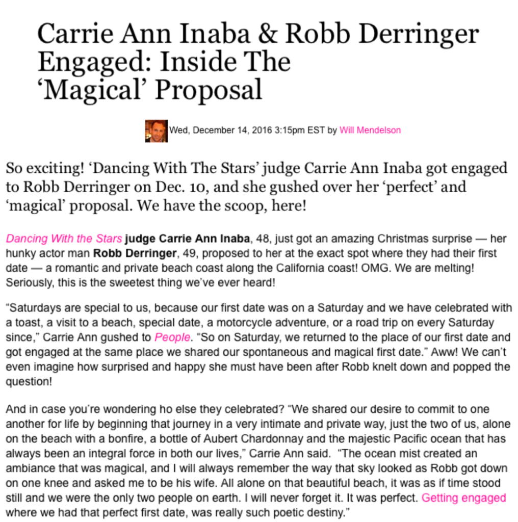 """Carrie Ann Inaba & Robb Derringer Engaged: Inside The 'Magical' Proposal"", Hollywood Life"