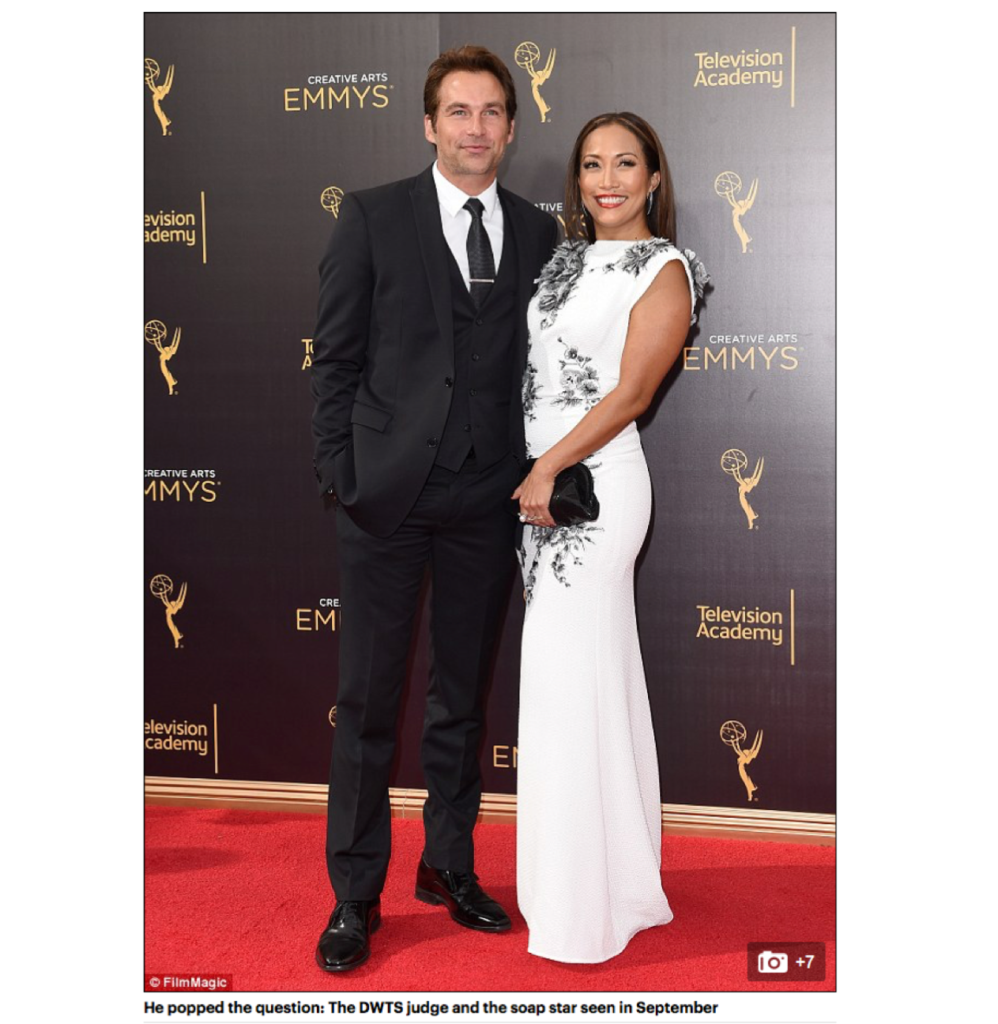 """Engaged! Dancing With The Stars judge Carrie Ann Inaba set to wed soap opera actor Robb Derringer after he presents her with huge diamond"", DailyMail UK"