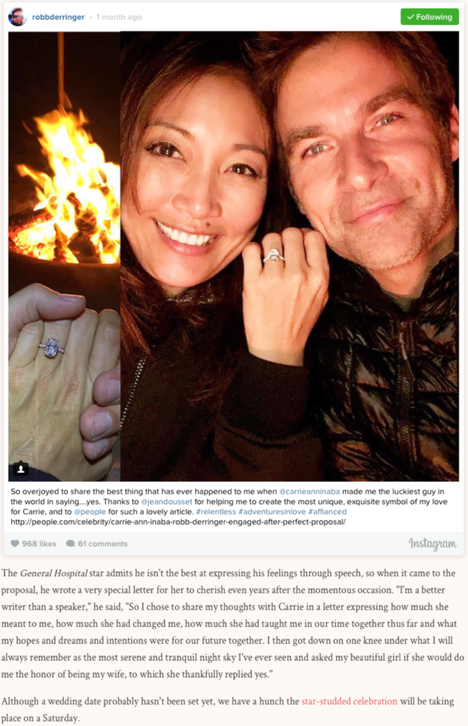 """DWTS' Carrie Ann Inaba and Robb Derringer Are Engaged! And Her Ring Is MASSIVE"", BRIDES"