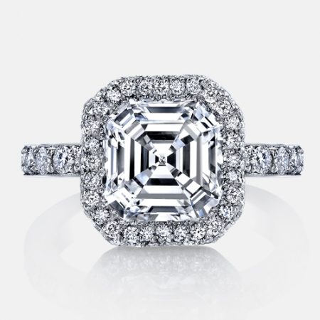 Eva Seamless Halo® Engagement Ring with Milgrain in Platinum by Jean Dousset