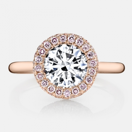 Iris La Vie en Rose® Seamless Halo® Engagement Ring by Jean Dousset