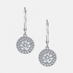 Eva Seamless Halo® Diamond Drop Earrings in Platinum by Jean Dousset