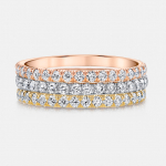 Angelina Tri-Color Gold Diamond Eternity Band Set by Jean Dousset