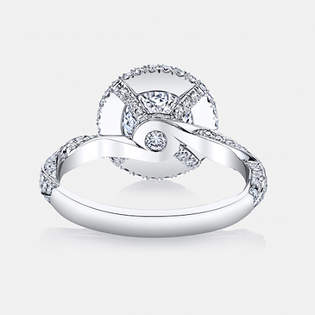 Pirouette Seamless Halo® Engagement Ring in Platinum by Jean Dousset