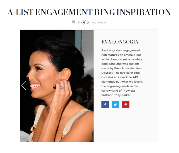 """A-list engagement ring inspiration"", Harper's Bazaar UK"