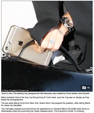 """""""Well, she has waited 18 years! Maria Menounos shows off diamond ring as she holds tight to new fiancé Keven Undergo"""", Daily Mail UK"""