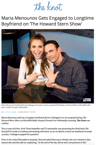 """Maria Menounos Gets Engaged to Longtime Boyfriend on 'The Howard Stern Show'"", The Knot"
