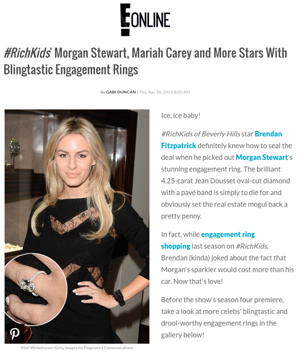 """""""#RichKids' Morgan Stewart, Mariah Carey and More Stars With Blingtastic Engagement Rings"""", E! Online"""