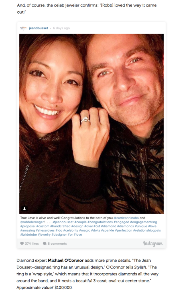 """""""All the Details on Carrie Ann Inaba's Stunning Oval Engagement Ring"""", Stylish by Us"""